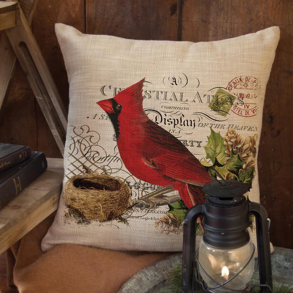 Winter Garden Cardinal 18 in. x 18 in. Natural Pillow Cover
