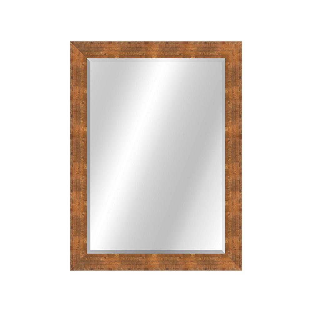 Patterned 22 x 28 Veneer Pecan Framed Vanity Mirror
