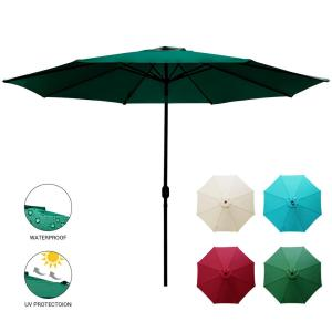 11 ft. Market Patio Umbrella Table with Push Button Tilt and Crank in Dark Green