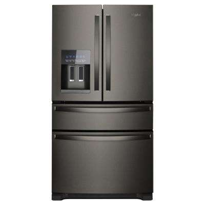 36 in. W 25 cu. ft. French Door Refrigerator in Fingerprint Resistant Black Stainless