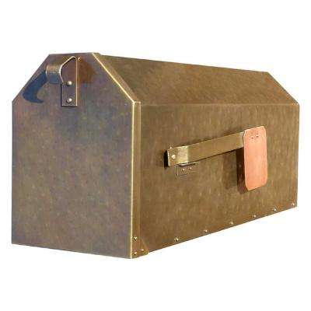 Polished Brass Post Mount Non-Locking Mailbox