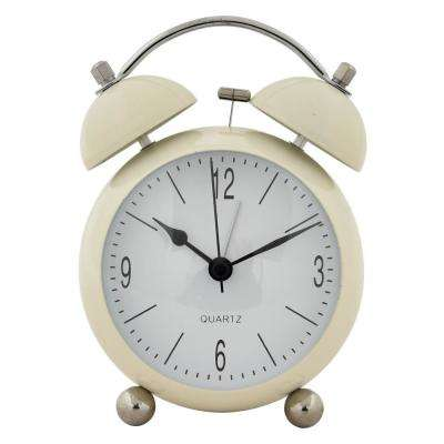 6 in. White Metal Alarm Clock
