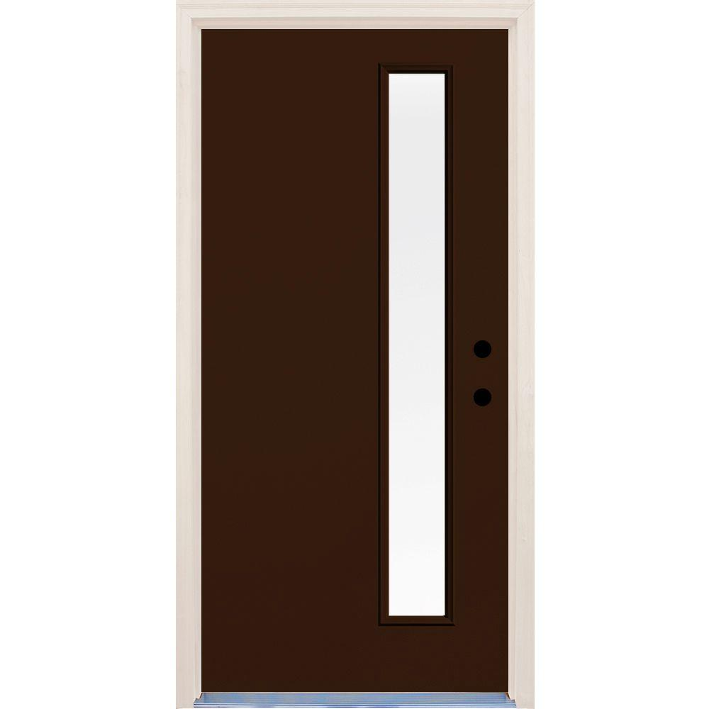 Builder's Choice 36 in. x 80 in. Earthen 1 Lite Clear Glass Painted Fiberglass Prehung Front Door with Brickmould