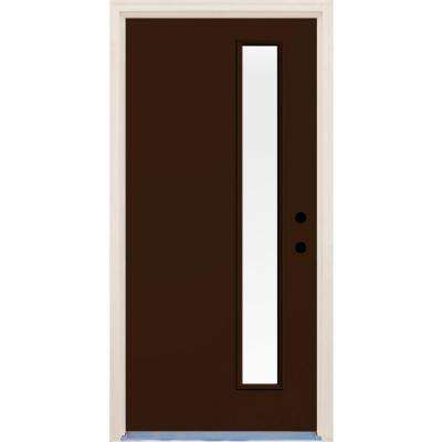 36 in. x 80 in. Left-Hand Earthen 1 Lite Clear Glass Painted Fiberglass Prehung Front Door with Brickmould