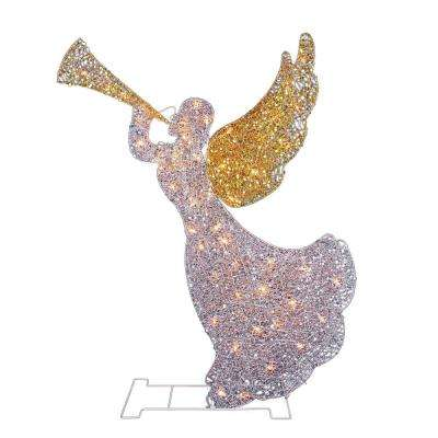 46 in. Christmas Lighted Glitter Sequin 3D Angel with Trumpet Outdoor Decoration and Clear Lights