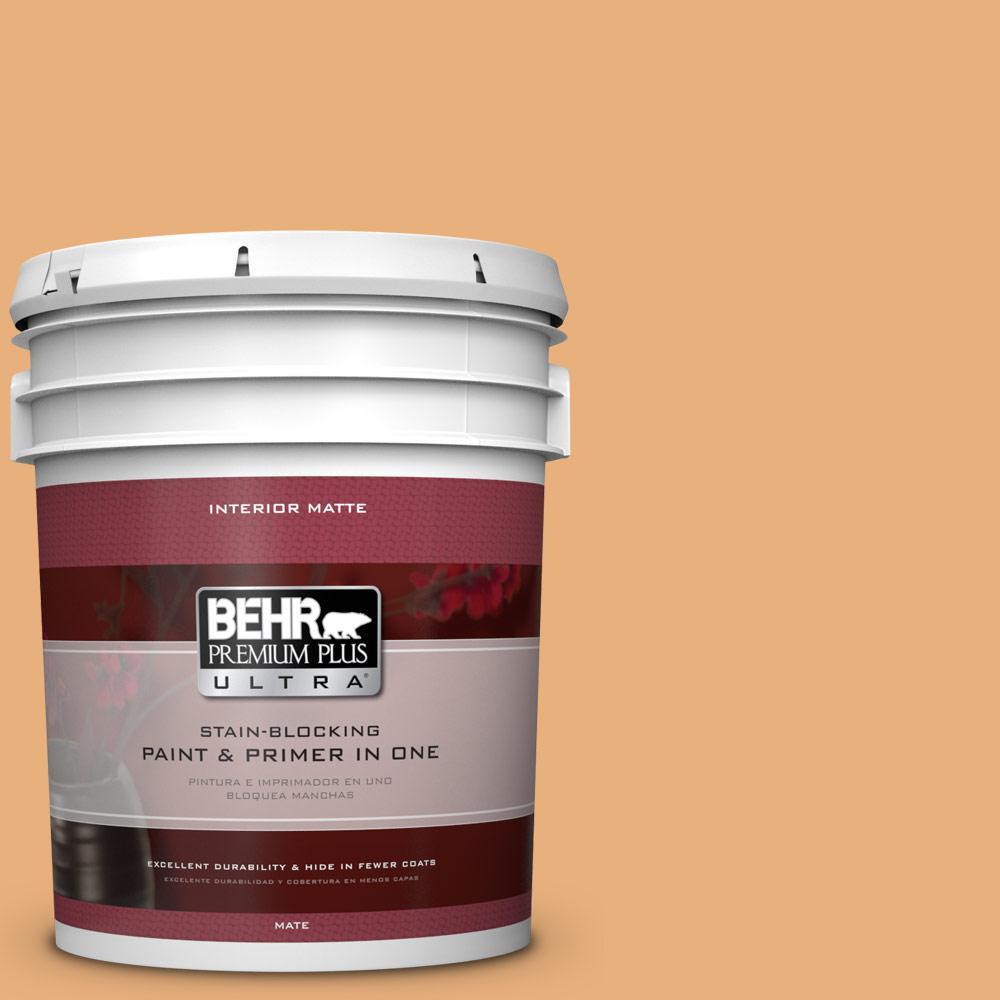 BEHR Premium Plus Ultra 5 gal. #M240-5 Squash Bisque Matte Interior Paint