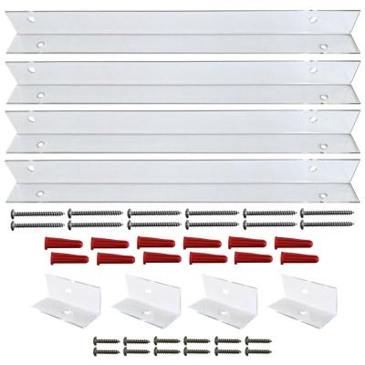 Shutter-Brackets for 28 in. Shutters, Clear Polycarbonate Mounting Brackets for Composite and Wood Shutters (4-Brackets)