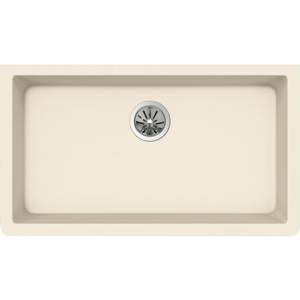 Elkay Premium Quartz Undermount Composite 33 In Single Bowl Kitchen Sink In Parchment