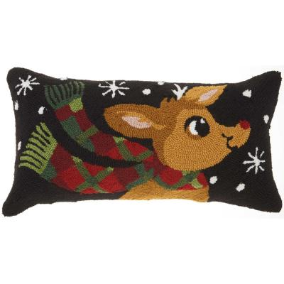 Home For The Holiday Rudolph With Scarf Multicolored Graphic Polyester 18 in. x 12 in. Throw Pillow