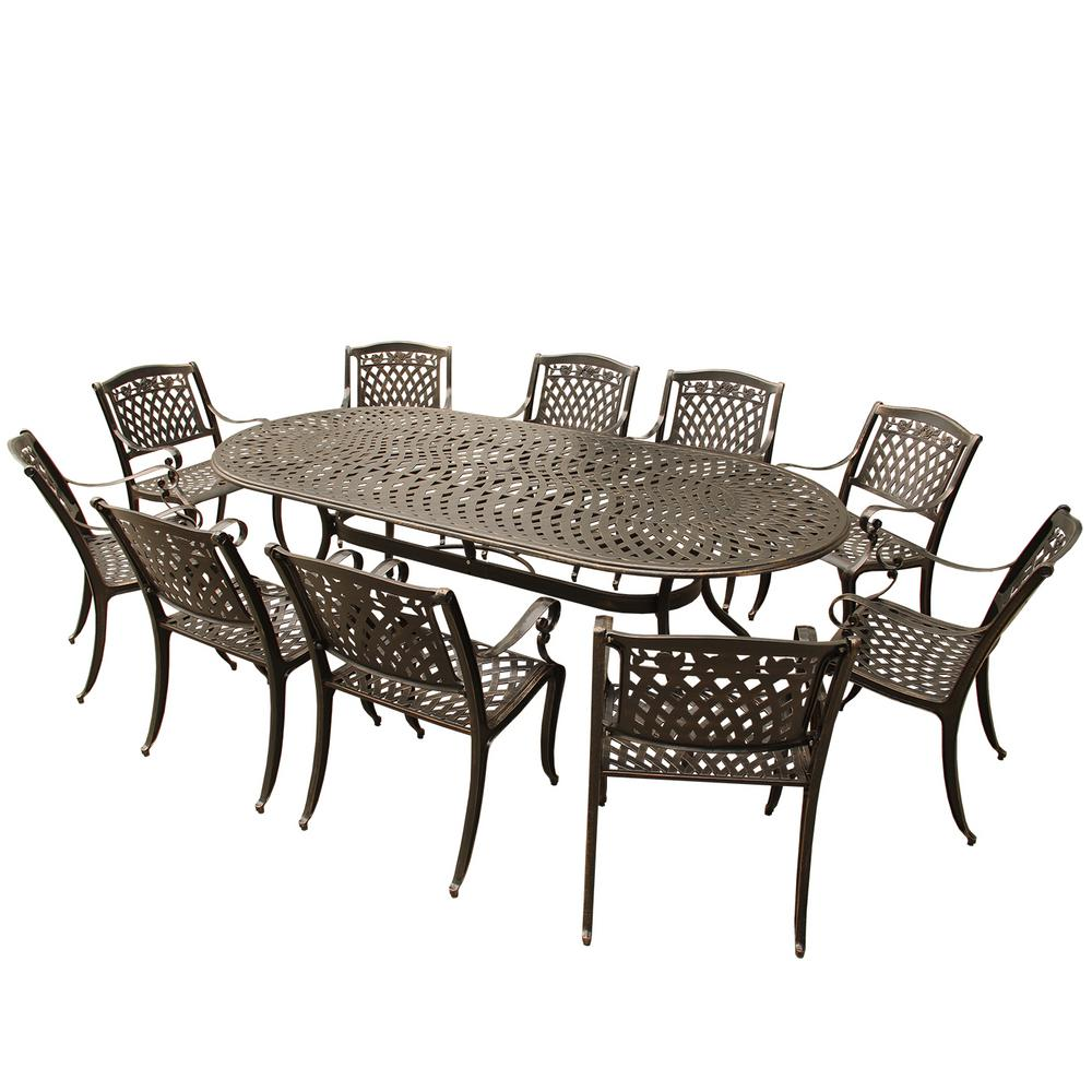 Marvelous Ornate Modern Rose 11 Piece Bronze Aluminum Oval Outdoor Dining Set With 10 Chairs Bralicious Painted Fabric Chair Ideas Braliciousco