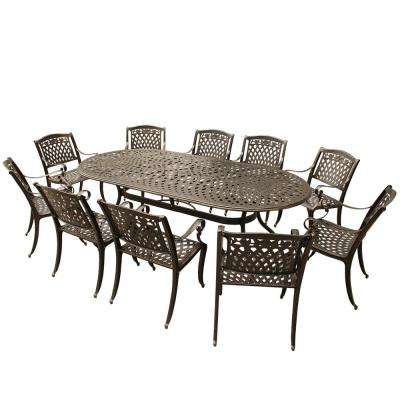Ornate Modern Rose 11 Piece Bronze Aluminum Oval Outdoor Dining Set With 10 Chairs