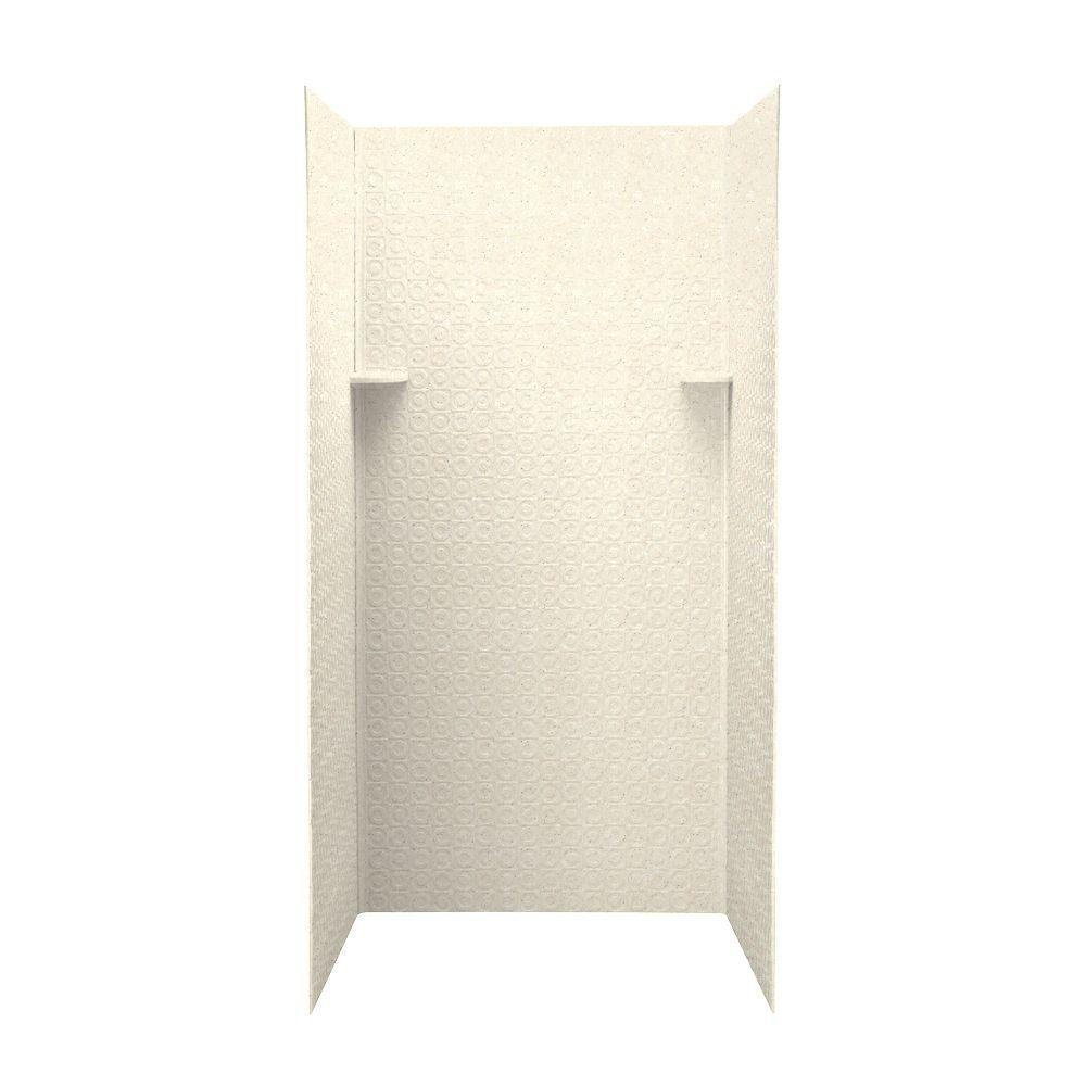 Swan Barcelona 36 in. x 36 in. x 72 in. Three Piece Easy Up Adhesive Shower Wall Kit in Pebble-DISCONTINUED