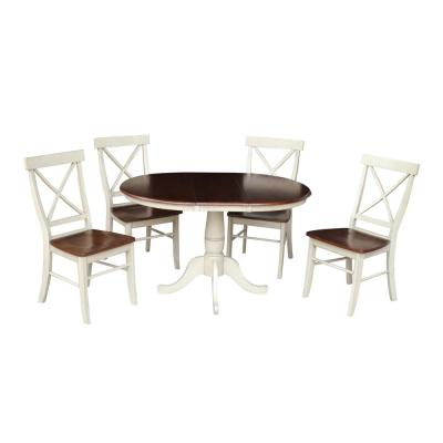 Laurel 5-Piece 36 in. Almond/Espresso Extendable Solid Wood Dining Set with Alexa Chairs