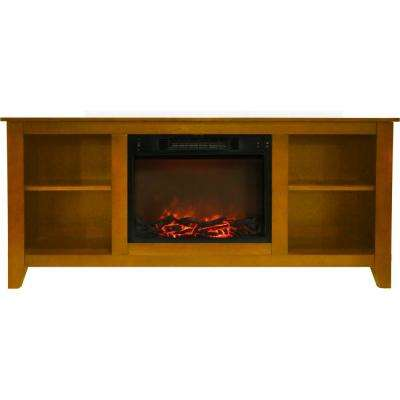 Santa Monica 63 in. Electric Fireplace and Entertainment Stand in Teak with 1500-Watt Charred Log Insert