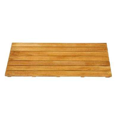 14 in. x 32 in. Bathroom Shower Mat in Natural Teak