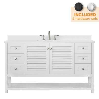 Grace 60 in. W x 22 in. D Bath Vanity in White with Cultured Marble Vanity Top in White with White Basins