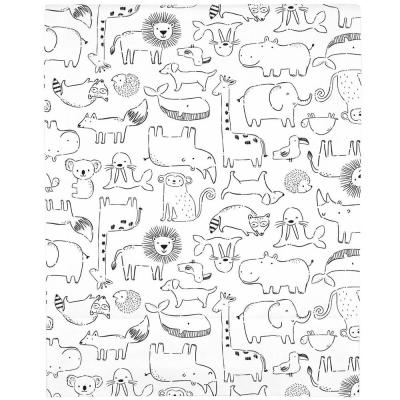 Black and White Safari Animals Super Soft Fitted Polyester Crib Sheet