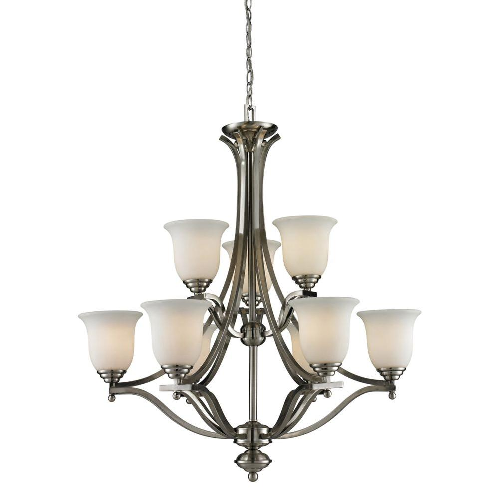 Lawrence 9-Light Brushed Nickel Incandescent Ceiling Chandelier