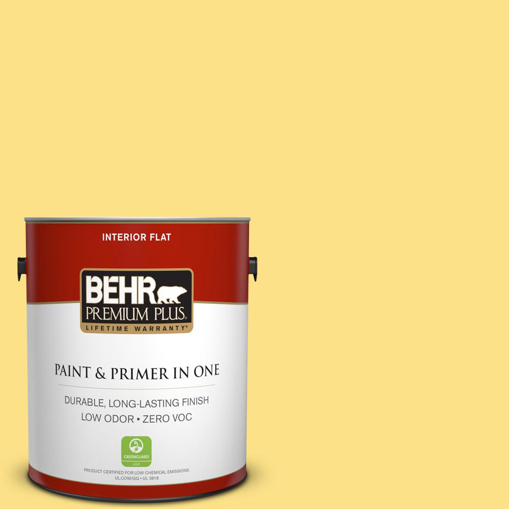 BEHR Premium Plus 1-gal. #380B-4 Daffodil Yellow Zero VOC Flat Interior Paint