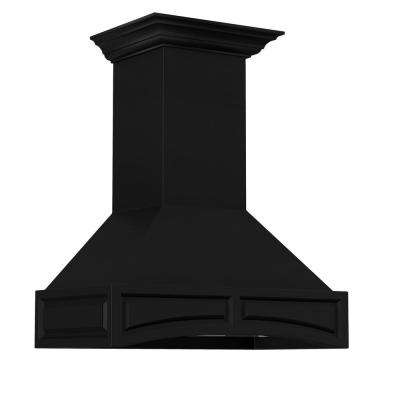 36 in. Wooden Wall Mount Range Hood in Black - Includes 1200 CFM Motor