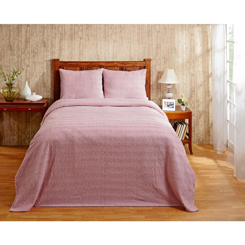 Natick 81 in. X 110 in. Twin Pink Bedspread