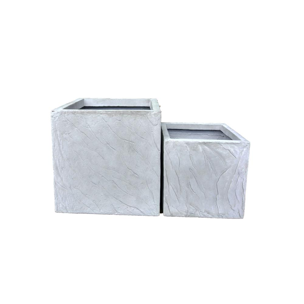 Lightweight Concrete Slate Cube Planter (Set of 2)