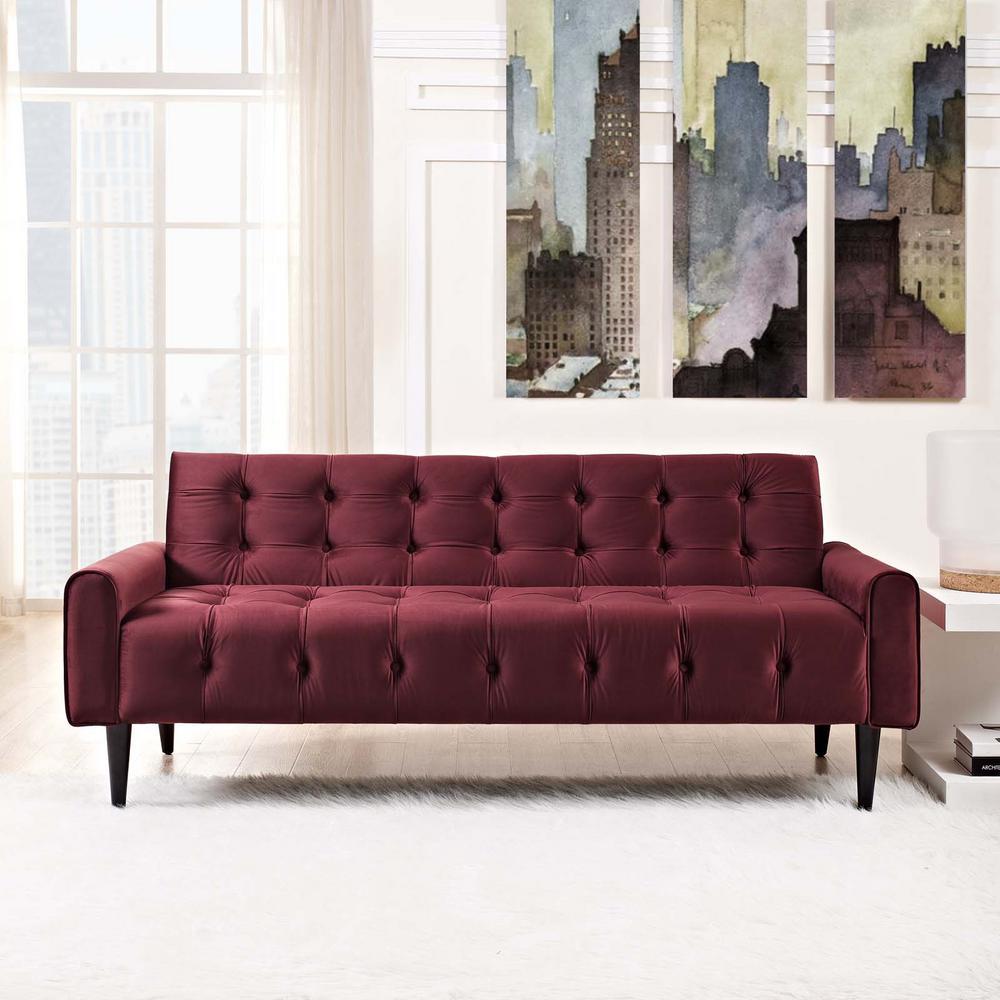 Delve Maroon Velvet Sofa