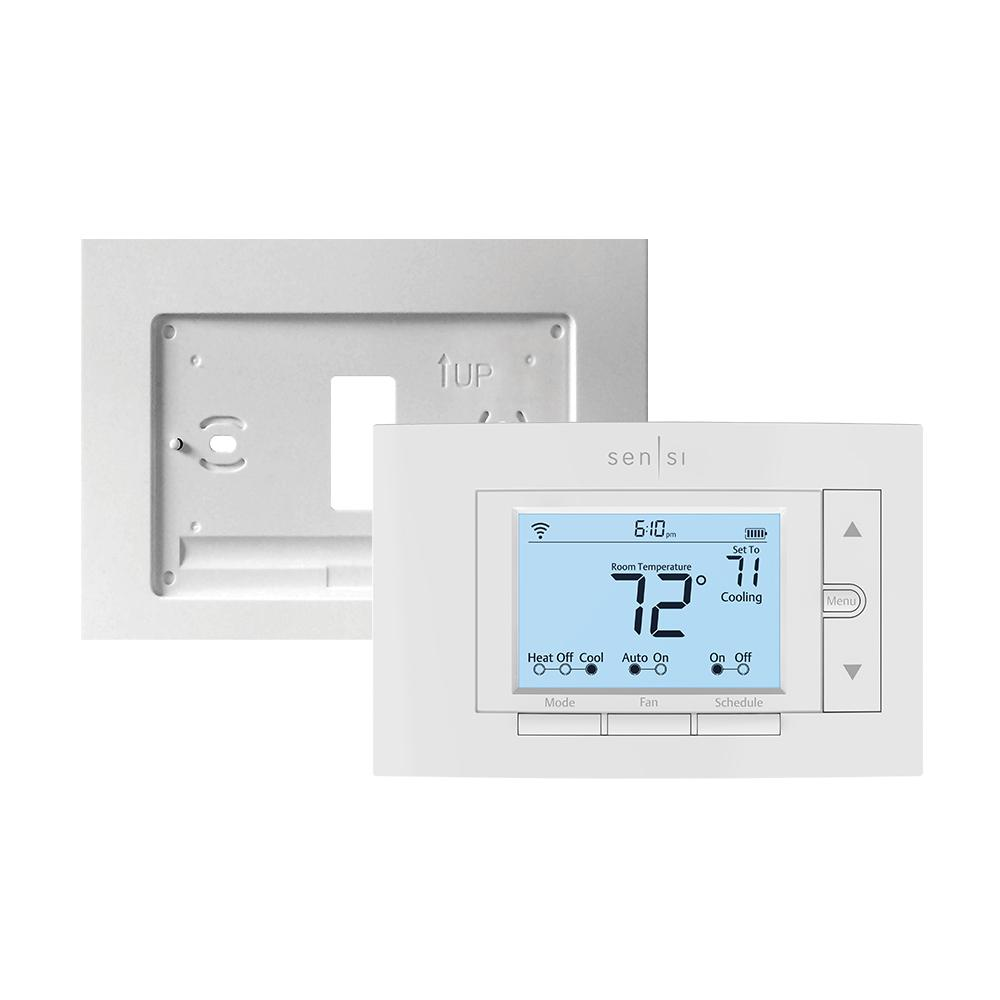 Emerson Sensi 7-Day Programmable Wi-Fi Thermostat and Wall Plate Bundle