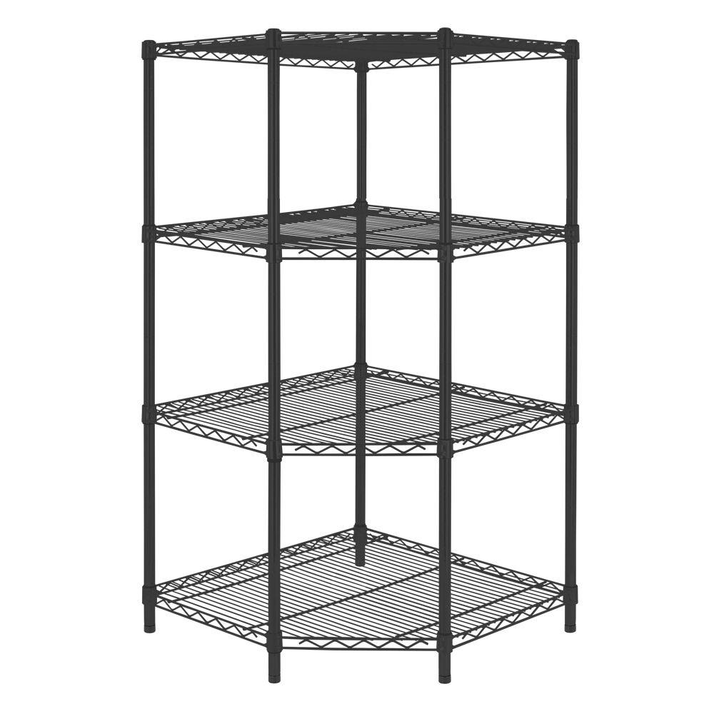D 4 Shelf Steel Corner Shelving Unit In Black