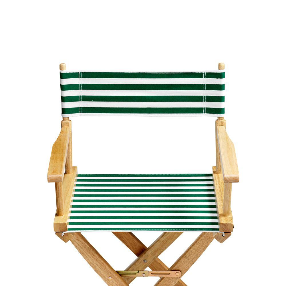 Home Decorators Collection Striped Hunter and White 18.5 in. Seat and Back Folding Chair -Cover Only