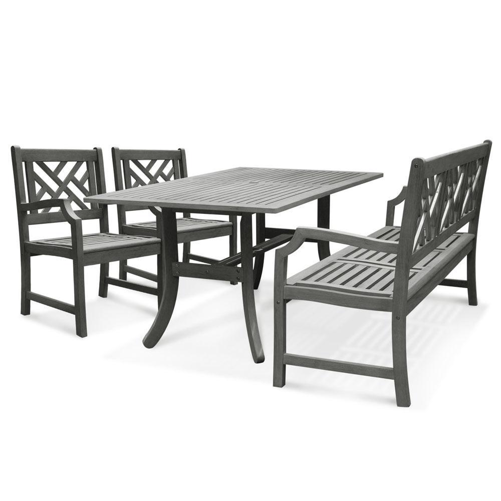 Vifah Renaissance Acacia 4-Piece Patio Dining Set with Rectangular Extension Table