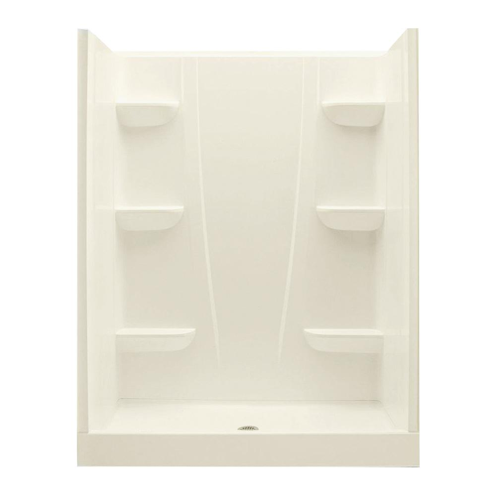 A2 34 in. x 60 in. x 76 in. Center Drain Shower Kit in Biscuit