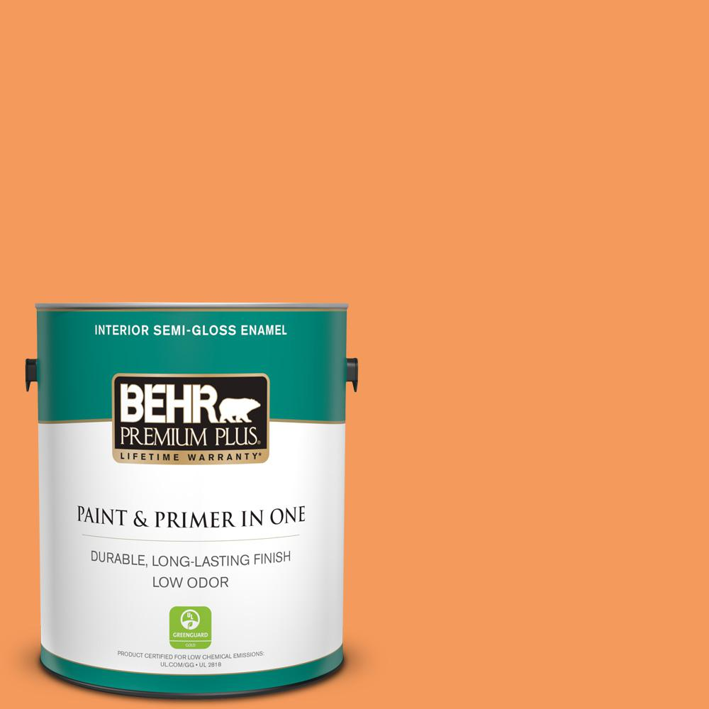 Behr Premium Plus 1 Gal 260b 6 Blaze Orange Semi Gloss Enamel Low Odor Interior Paint And Primer In One 330001 The Home Depot