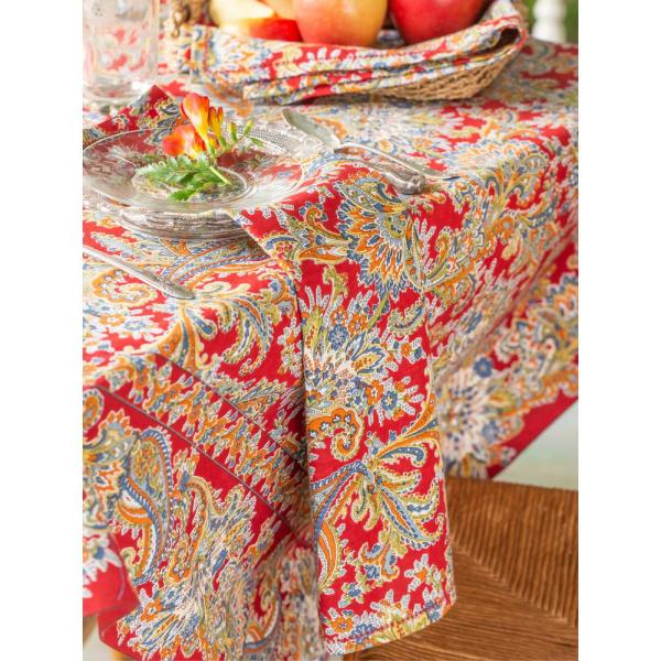 April Cornell Rhapsody Red Paisley 54'' x 54'' Square Tablecloth TPRHA54H.Red