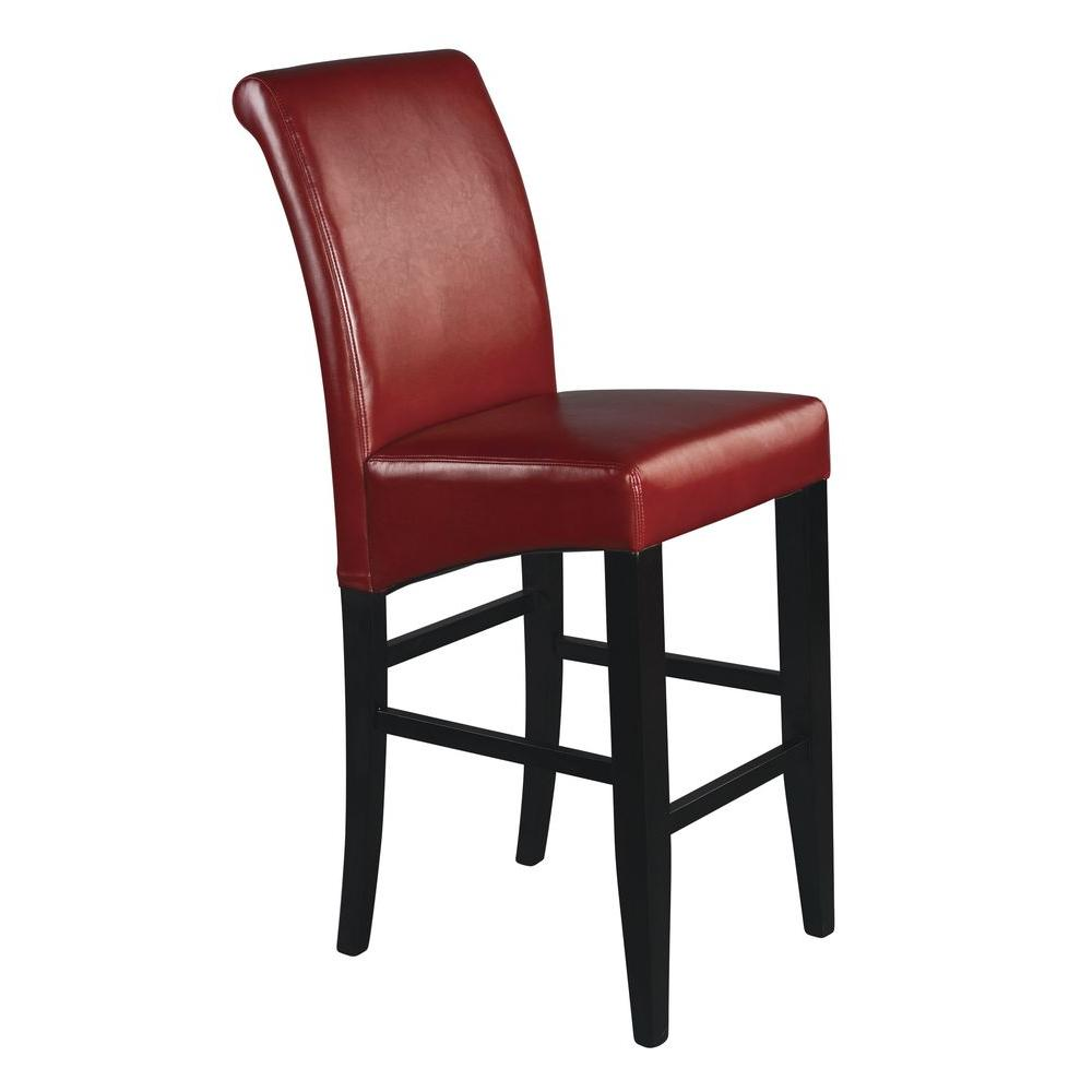 OSP Home Furnishings Parsons 30 in. Red Cushioned Bar Stool, Red/Espresso OSP Home Furnishings Parsons 30 in. Red Cushioned Bar Stool, Red/Espresso