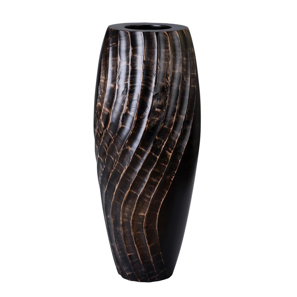 14 in. Black Tall Handmade Decorative Mango Wood Swirl Vase