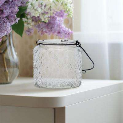 4in x 4 in. Clear Glass Textured Pattern with Metal Wire Hanger