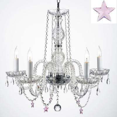 Empress Crystal 5 Light Clear Crystal Chandelier With Pink Crystal Stars