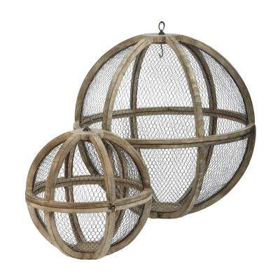 Wire Atlas 30 in. and 18 in. Iron and Fir Wood Decorative Hanging Spheres (Set Of 2)