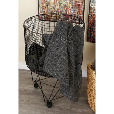 28 in. H 4-Wheeled Iron Wire Frame Storage Basket in Tarnished Gray