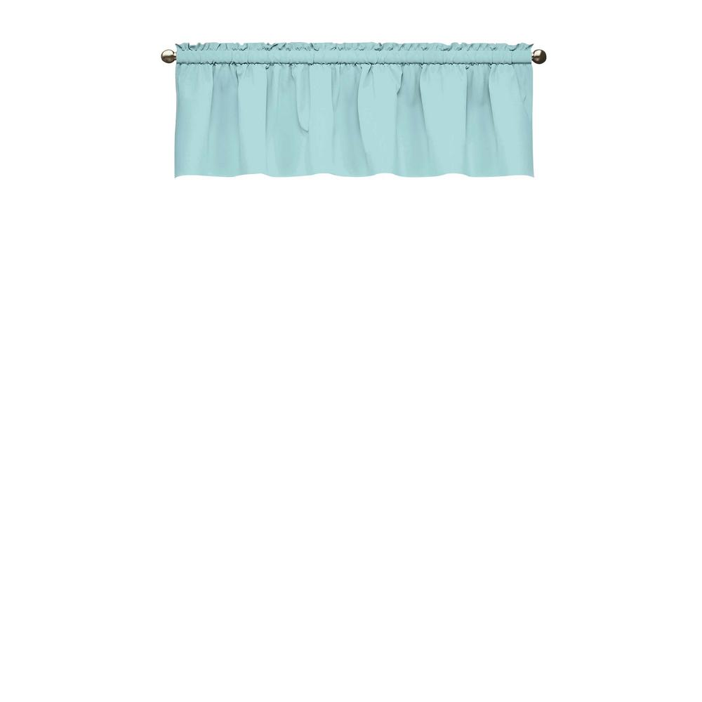 18 in. L Kids Microfiber Polyester Blackout Window Valance in Blue
