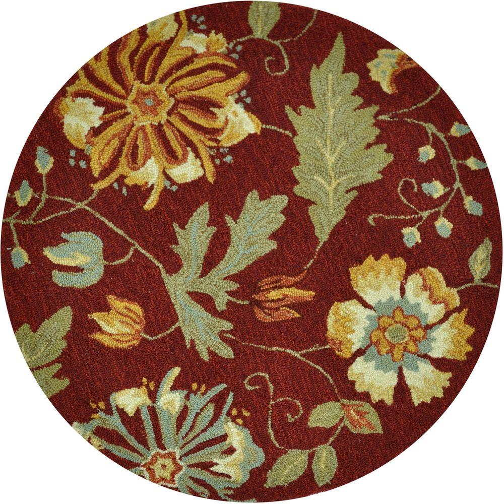 Loloi Rugs Summerton Life Style Collection Wine Color 3 ft. Round Area Rug-DISCONTINUED