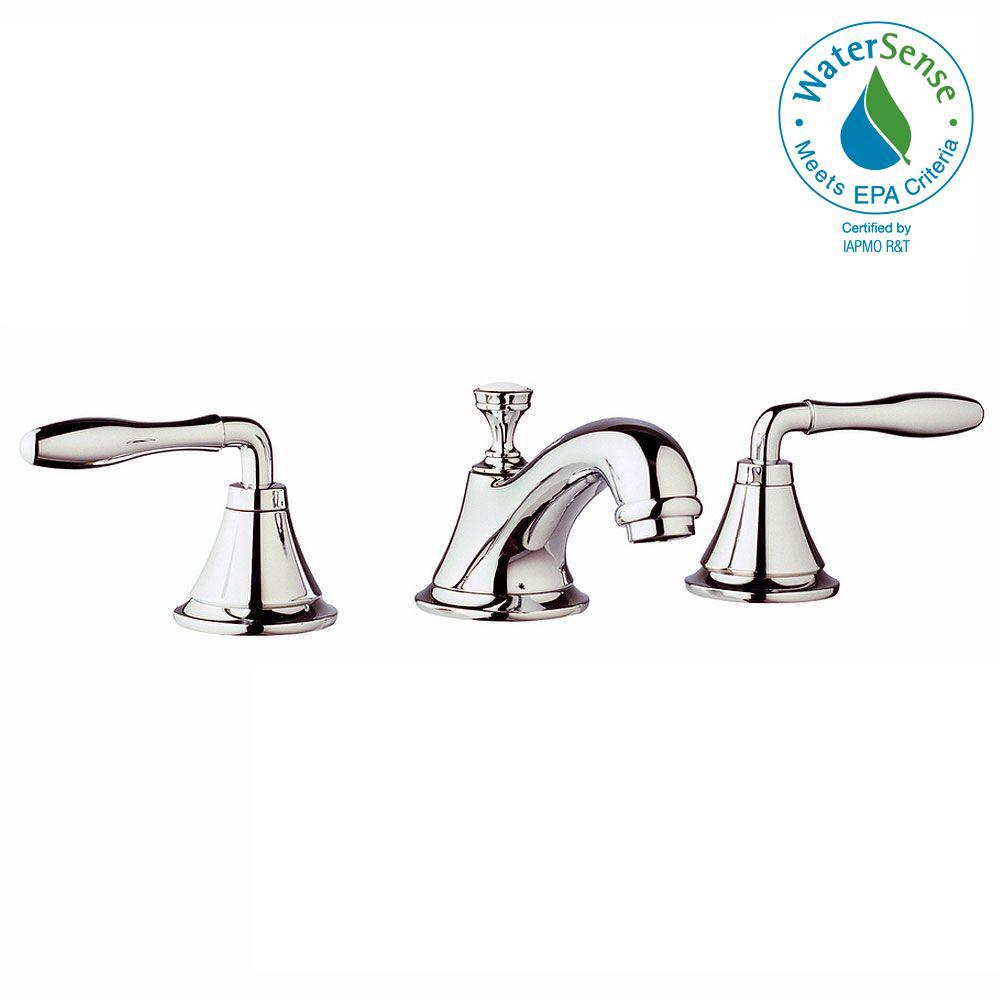 GROHE Seabury 8 in. Widespread 2-Handle Low-Arc Bathroom Faucet in ...