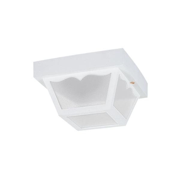 Outdoor Ceiling White 1-Light Outdoor Flush Mount with LED Bulb