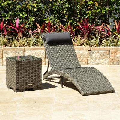 AMALFI 2-Piece Armless Wicker Lounge Chair Set with Grey Cushions