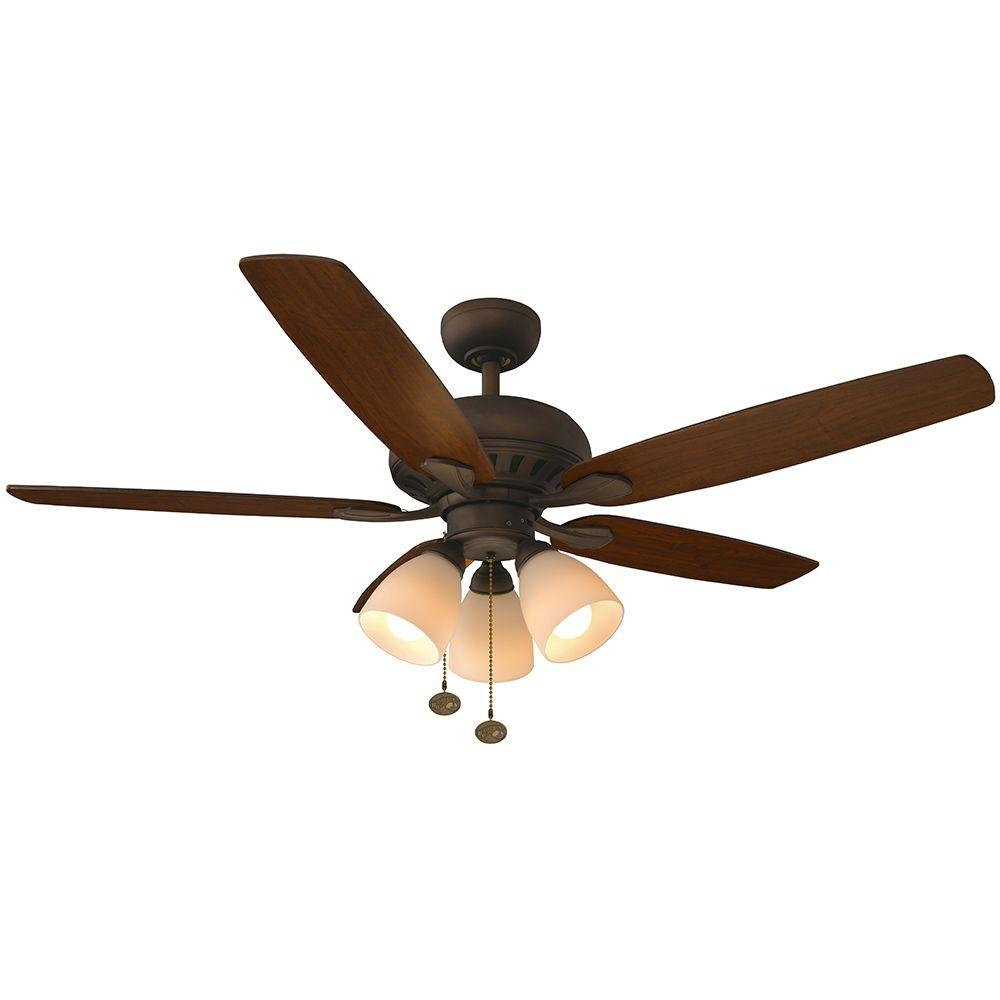 Hampton bay rockport 52 in indoor brushed nickel ceiling fan with indoor brushed nickel ceiling fan with light kit 51750 the home depot aloadofball Image collections
