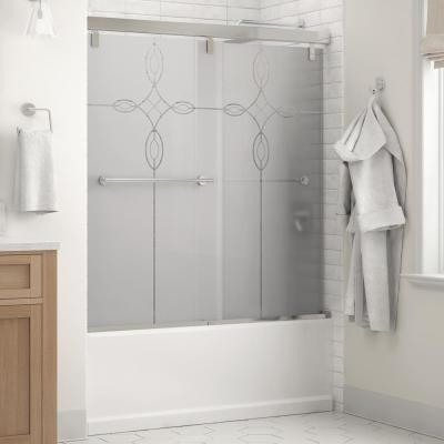Lyndall 60 x 59-1/4 in. Frameless Mod Soft-Close Sliding Bathtub Door in Chrome with 1/4 in. (6mm) Tranquility Glass