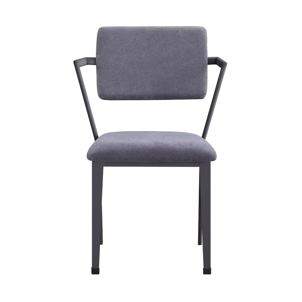 Gray Fabric and Gunmetal Cargo Dining Chair (Set of 2)