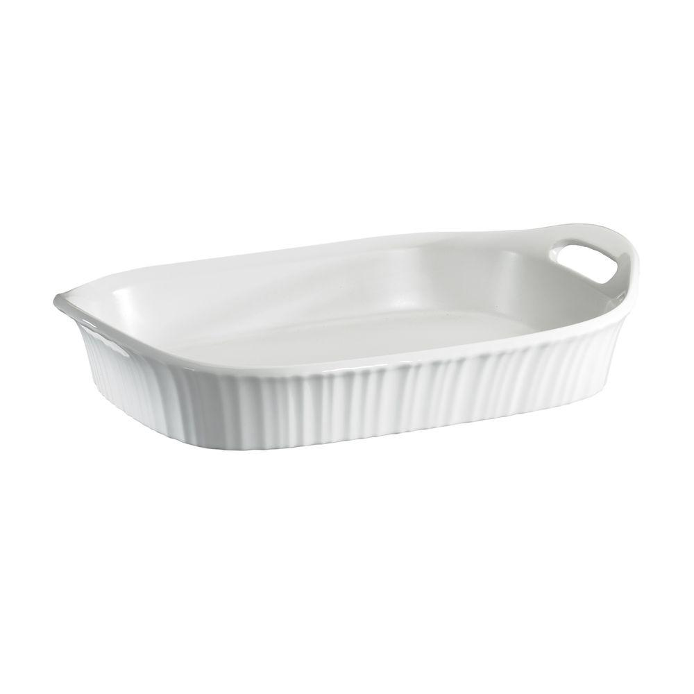 White 3 Qt Ceramic Baker Stoneware Serving Dish Bowl Baking Casserole Rectangle