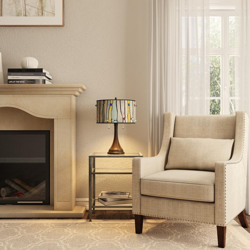 Bronze Table Lamp Set of 2 Barrel-Style Shade Home Living Room Bedroom Lighting